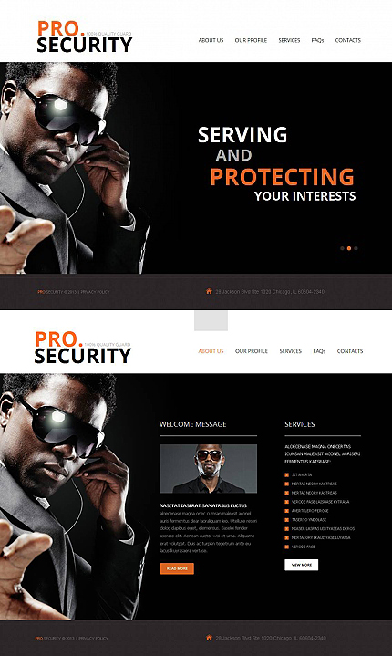 Dark Website Template for Security Services